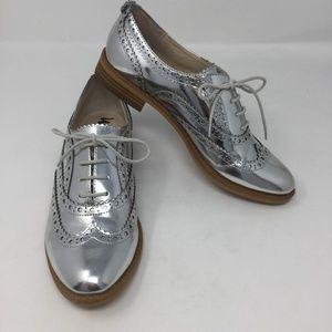 Sam Edelman Silver Metallic Saddle Shoes 6.5